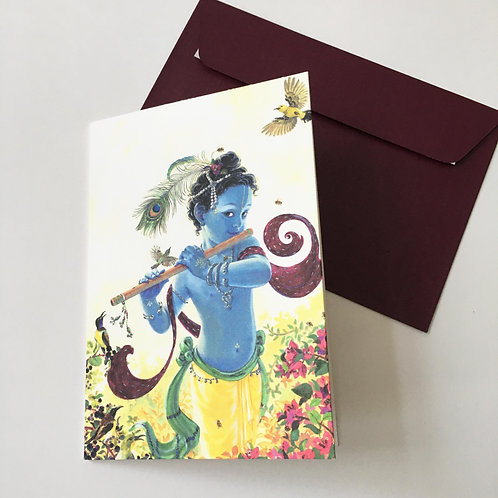 Greeting card with Pearlescent envelope - Gopal with sunbirds