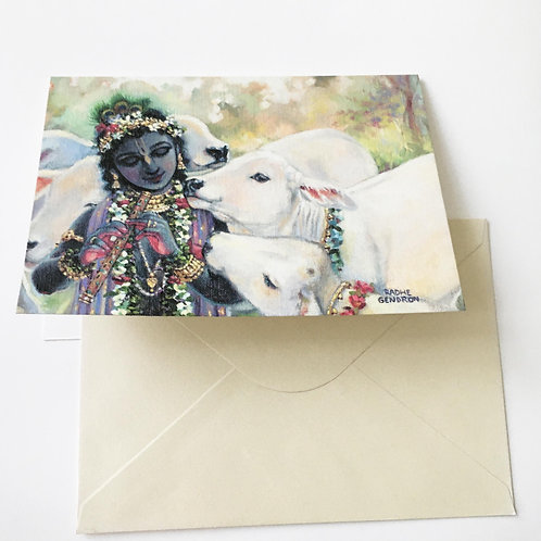Greeting card with Pearlescent envelope - Govinda with his white calves