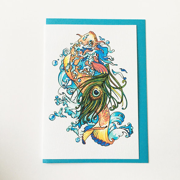 Greeting card with Pearlescent envelope - Matsya