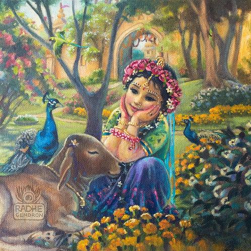 Little Radha watching Krishna