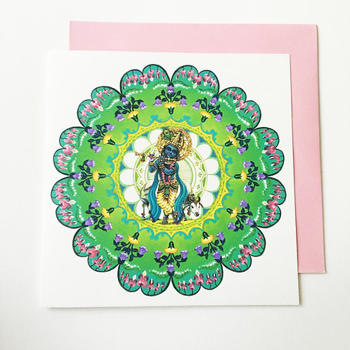 Square Greeting card with Pearlescent envelope - Krishna mandala