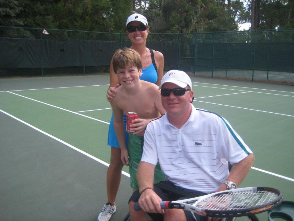 wheelchair tennis player his son and wife