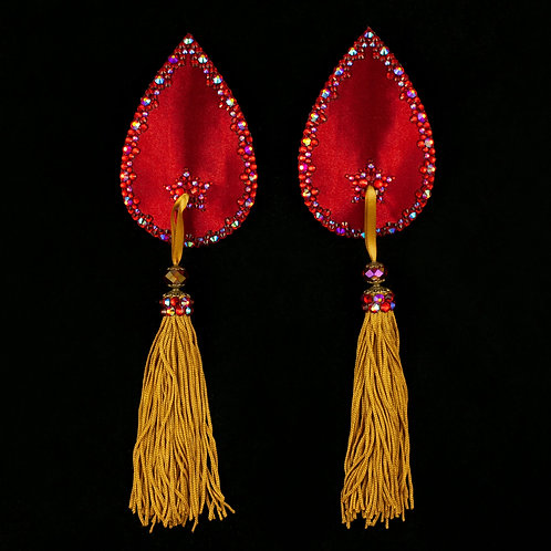 Ruby Red with Gold Teardrops