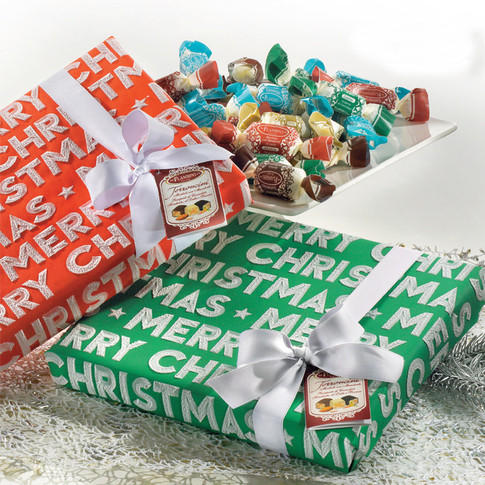 """THE """"MERRY CHRISTMAS"""" GIFT BOXES HANDWRAPPED-ASSORTED SMALL SOFT NOUGATS"""