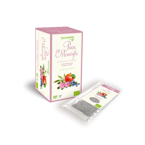 ORGANIC FRUIT HERBAL TEA WITH ROSEHIP, APLE,ELDERBERRY AND BLUEBERRY -15X3GR BAGS