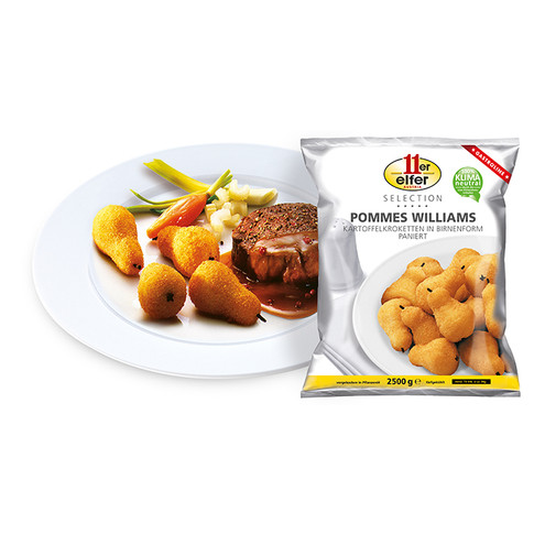 POMMES WILLIAMS PEAR SHAPED POTATO CROQUETTES, BREADED, SLIGHTLY PREBAKED