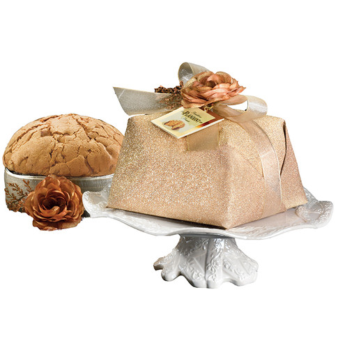 Cake stand with handwrapped sugar iced Panettone 750gr