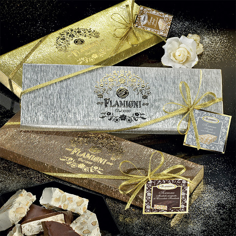 The gift cases Our nougats range in refined and sparkling handmade packaging 200gr x 200gr x 250gr