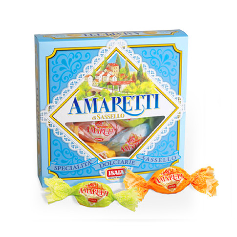 """SOFT AMARETTI """"CLASSIC"""" candy wrapped in blue box with window"""