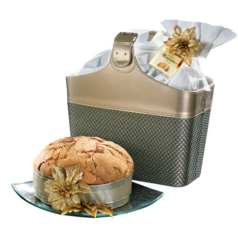 Magazines holder with sugar iced Panettone in bag 750gr