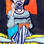 Self-portrait with Cup and Sketchbook
