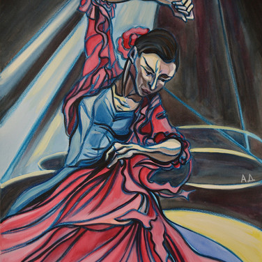 Flamenco Dancer in Blue and Red