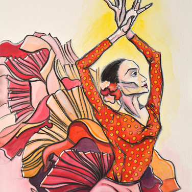 Flamenco Dancer in Red and Yellow