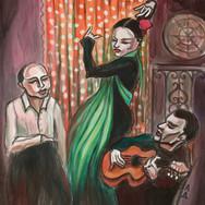 Flamenco Dancer with Green Scarf