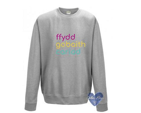 Siwmper Ffydd Gobaith Cariad Sweater