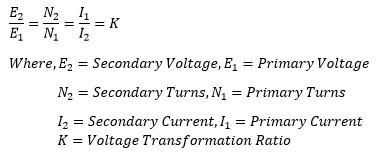 voltage transformation ratio of transformer