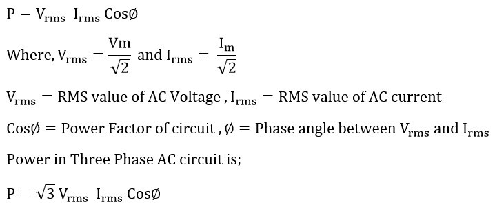 Active power formula of single phase and three phase ac circuit