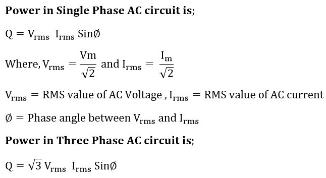 Reactive power formula of single phase and three phase circuit