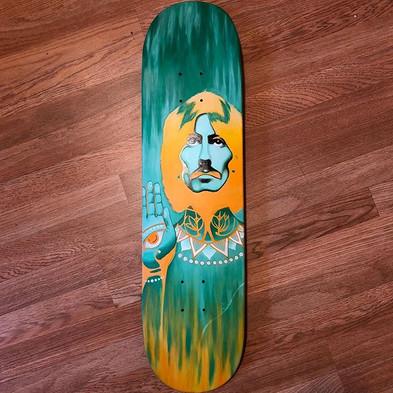 Process shot of George Harrison skateboard