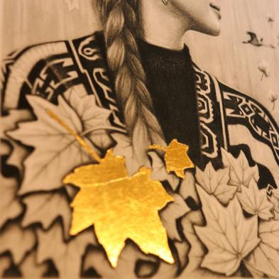 Autumns Embrace Gold Leaf Print
