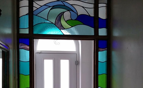 Stained Glass entrance way insitu by Pyramid Stained Glass