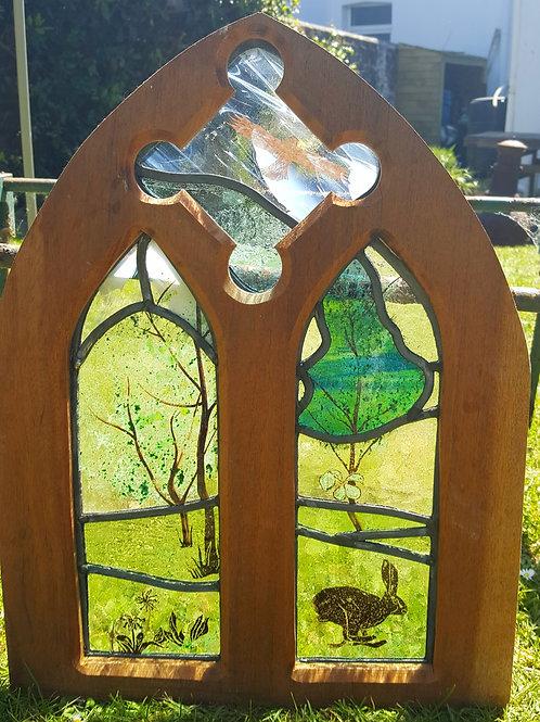 Countryside Scene in Church Type Window