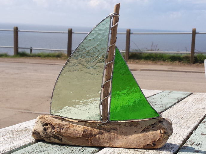 Pyramid Stained Glass Boat