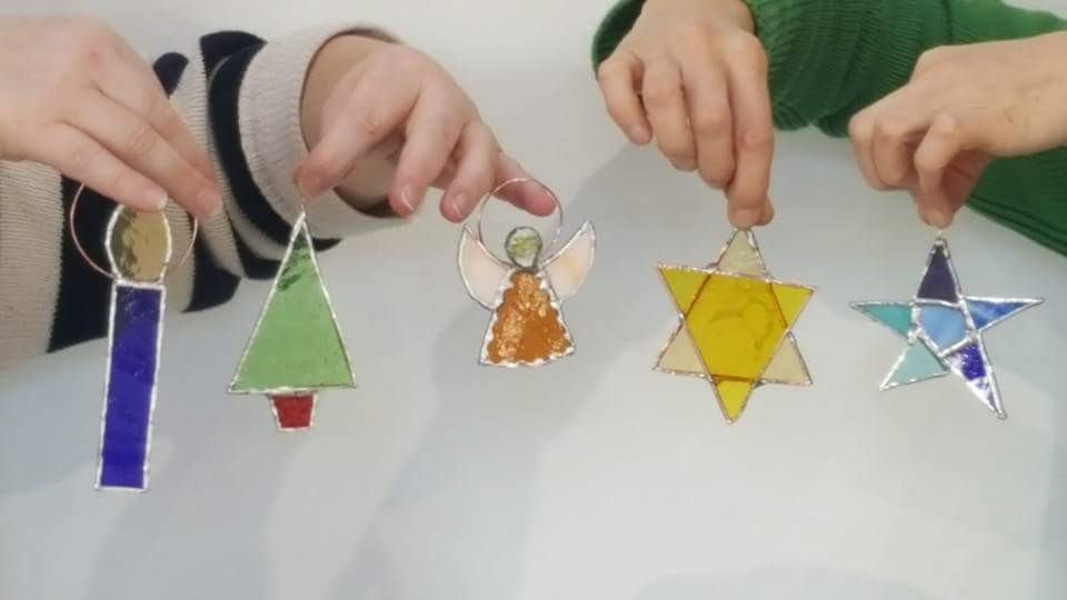 Pyramid Stained Glass Christmas Decorations