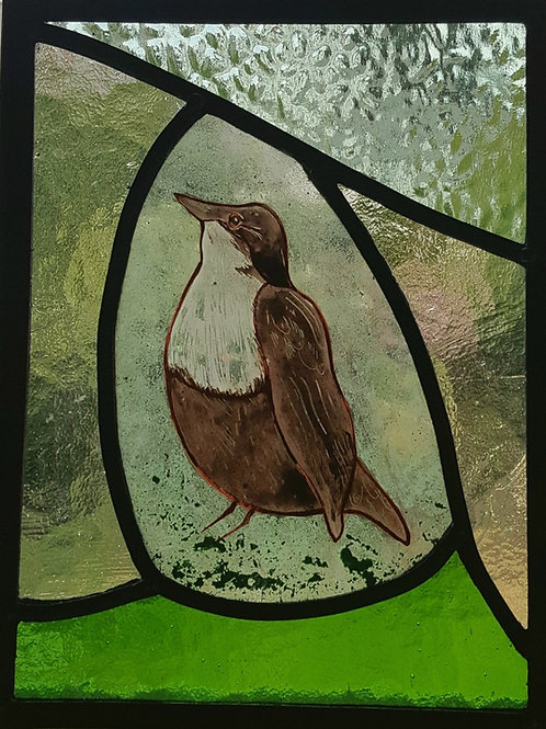 Dipper painted leaded panel