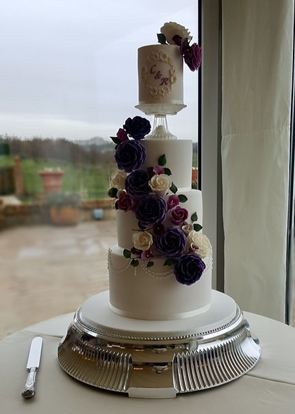 Purple and Lilac Floral Cascade Wedding Cake