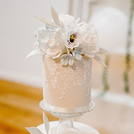 Lace wedding cake and sugar flowers
