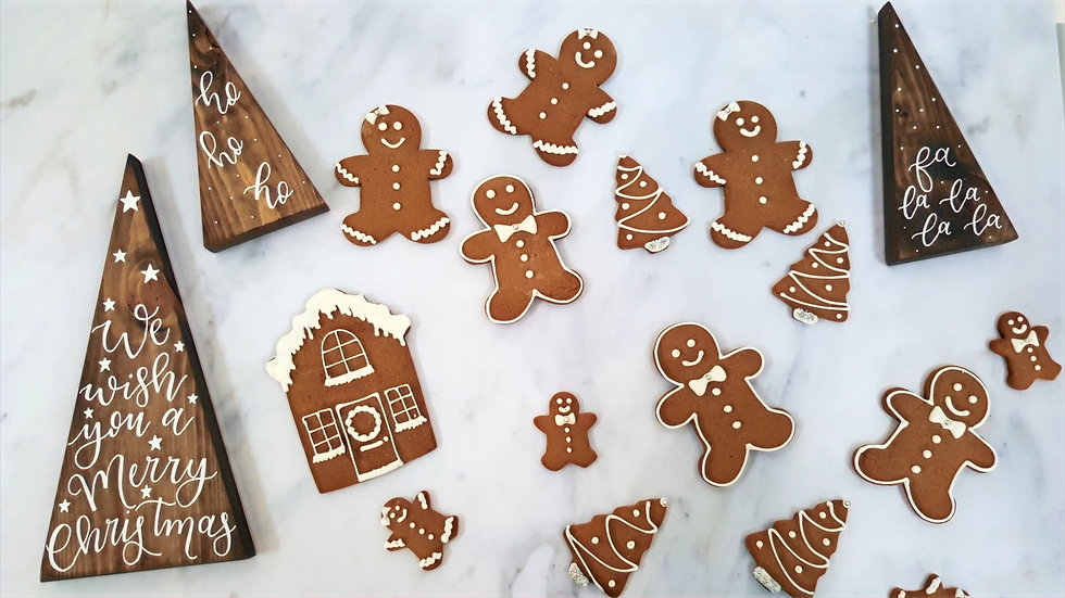 Gingerbread men, gingerbread house, gingerbread ladies, gingerbread Christmas trees