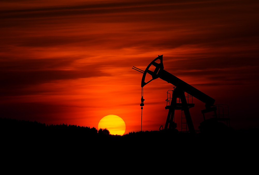 Oil Rig Operating Oil Field Black Red Sunset