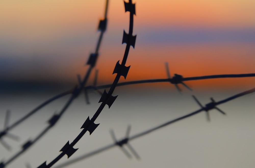 Sunset Background Blue Orange Barb Razer Wire Black