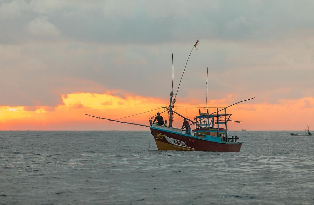 Fishing Boat Red Three Fishermen Ocean Sunset Orange