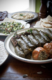 Tabouli Salad, Grape Leaves, Hummus, & B