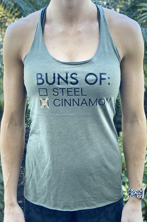 Women's Tri-Blend Racerback Tank - Buns of Cinnamon