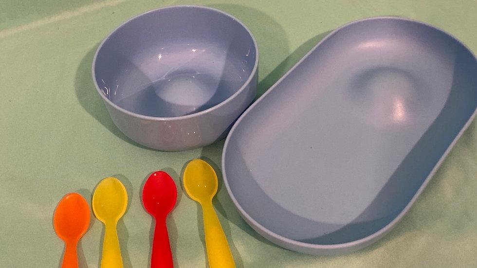 2 Neun dishes & 4 spoons