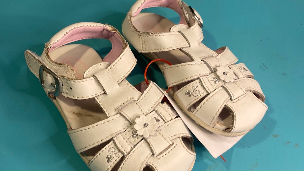 Little kid size 6, stride rite leather sandals, white