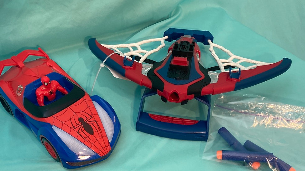 Spiderman Nerf gun and car