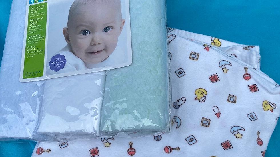 Flannel baby blanket, waterproof lab pads brand new