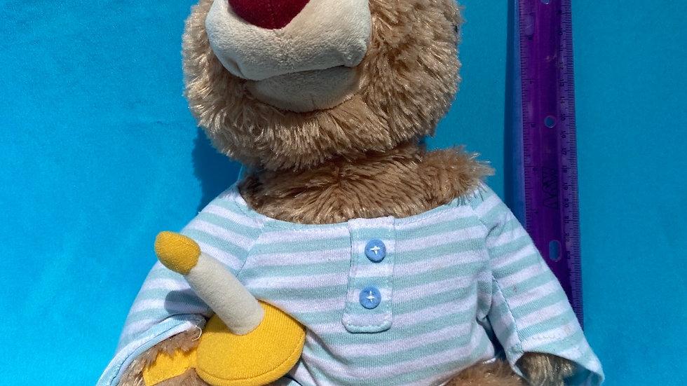 Gund bedtime bear blue and white shirt