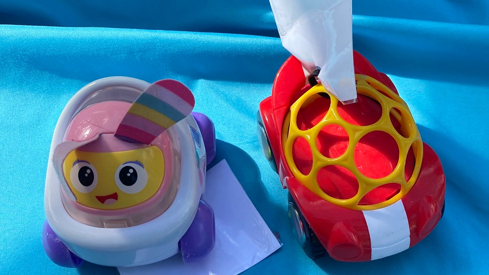 Fisher-Price pink car, red car with yellow holes in top