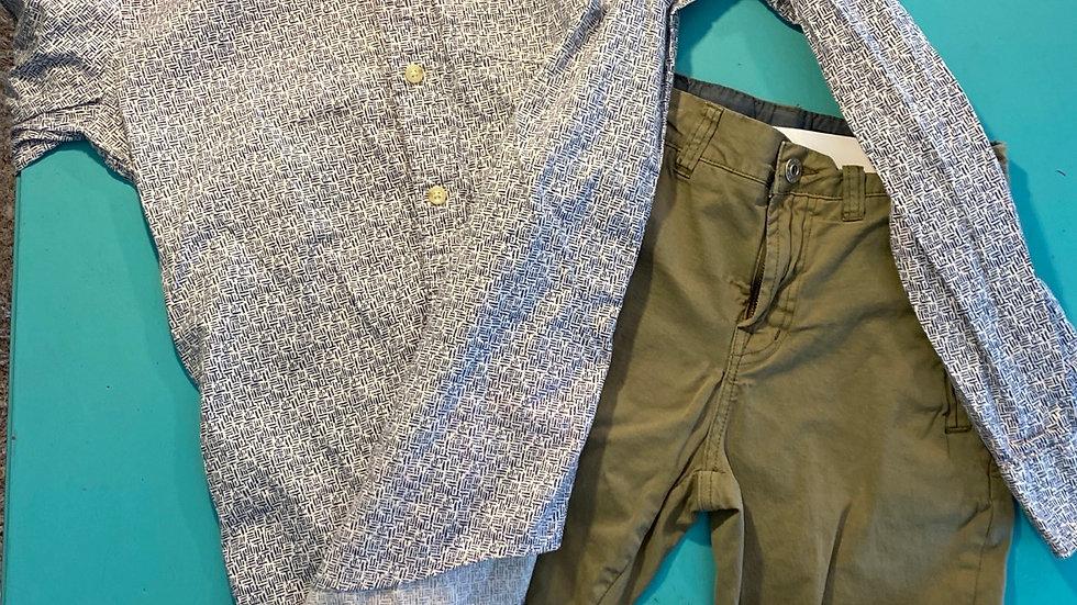 Size 12 green khaki joggers, size M Hollister shirt