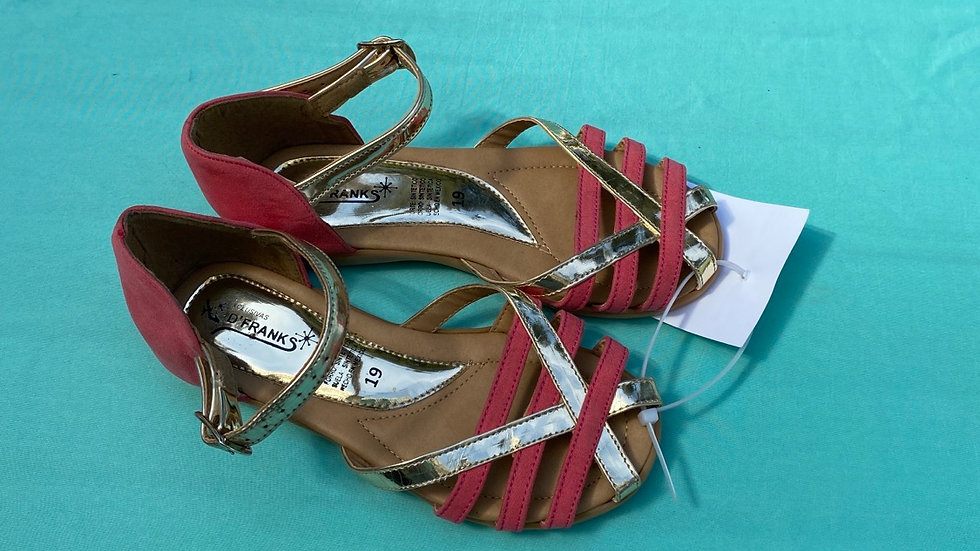 Little kid size 13, new D'Frank's pink and gold sandals