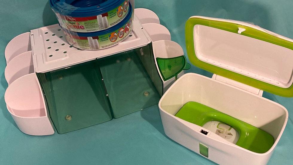 Diaper duty organizer, wipe dispenser, diaper genie refills