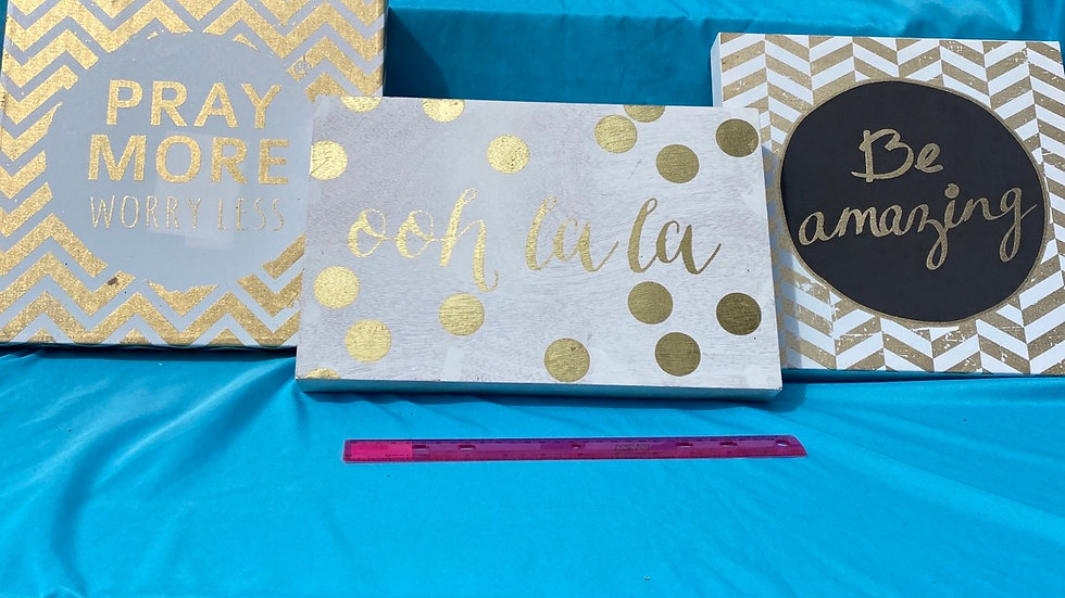 Gold and white three pack picture frames