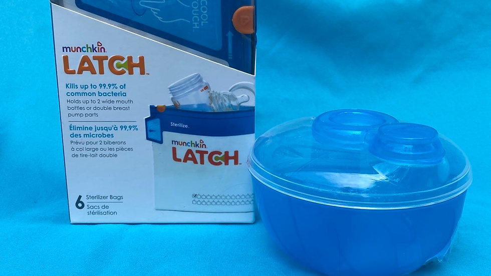 Blue formula container, munchkin latch sanitizer bags