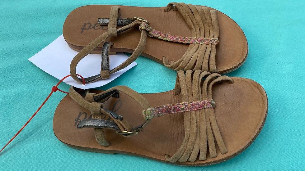 Little kid size 10, peak brown sandals
