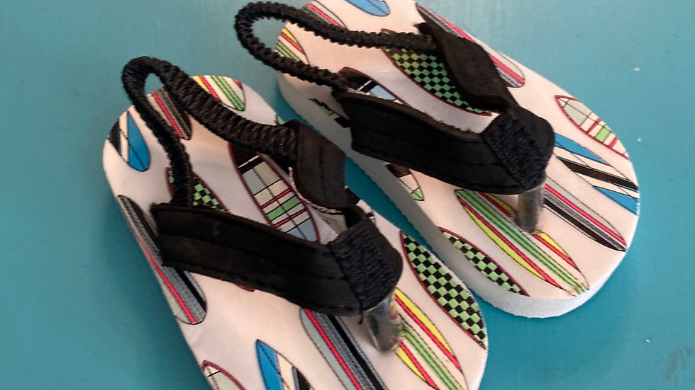 Little kid size 1, surfboard flip-flop sandals